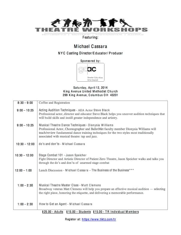 2014 Theatre Roundtable Workshops Program
