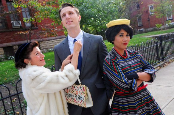 Kathy Taylor (as Mrs. Mae Peterson) from left to right, Justin Labelle (as Albert Peterson), *Nicolette Montana (as Rose Alvarez) *Appears by permission of Actors' Equity Association, the union of professional actors and stage managers in the United States.